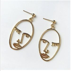 Sculptural Face Gold Earrings